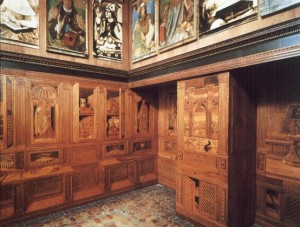 Architecture. Italian. Ducal Palace: Interior: Studiolo: Northeast Corner. (intarsia attributed to Benedetto da Maiano, W. Gallery of famous men by Justus of Ghent.) 1465-72. Urbino, Italy. Nees Rulers NeesW18Rulers14